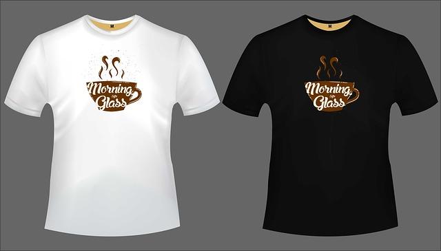 dvě trička s potiskem ranní kávy